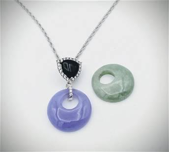Italian Sterling Silver Necklace w Jade, Violet Jade,