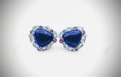 Lapis Lazuli, Blue Topaz, CZs, Pink & Purple Amethyst