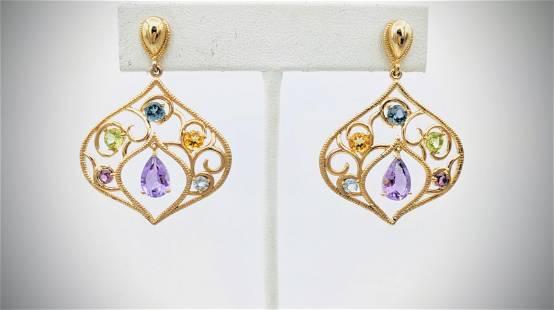 Multicolored Gemstone Earrings w Blue Topaz, Peridot,