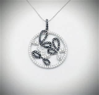 Necklace & Butterfly Pendant w Black Diamonds & CZs