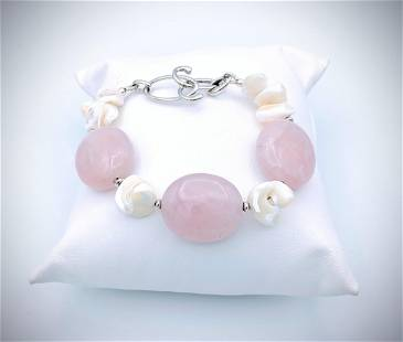 Rose Quartz Bracelet w Shells