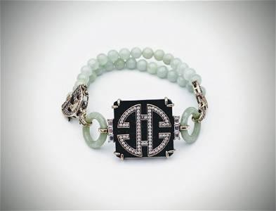 Sterling Silver Jade Beaded Bracelet w Black Acrylic