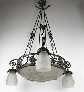 FRENCH ART DECO CHANDELIER MOLDED pressed GLASS MULLER