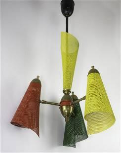 FRENCH modernist colorful CHANDELIER Mathieu Mategot