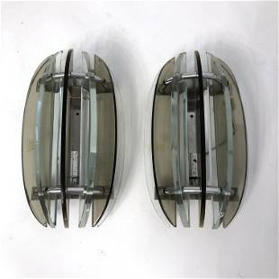 Veca, pair of Italian signed glass sconces from 60s