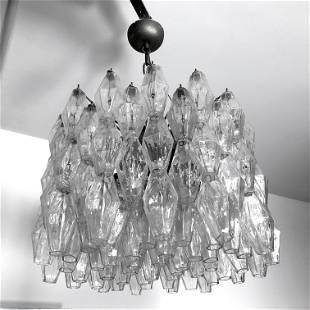 Carlo Scarpa for Venini, Poliedri glass chandelier.