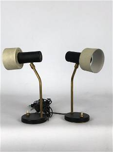 Mid-century Italian adjustable cone table lamps