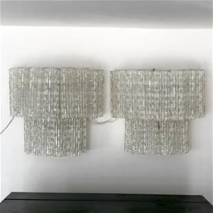 Mid-century Italian Clear Murano glass sconces. Set of
