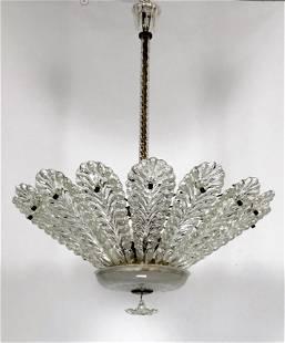 Venini, Italian Art Deco Murano glass chandelier from
