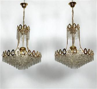 Sciolari, set of two gild and Cristal chandeliers from