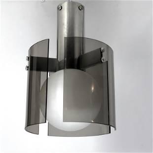 Veca, Italian vintage glass and chrome chandelier