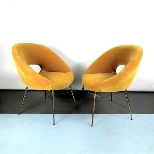 Silvio Cavatorta, pair of gold velvet armchairs from