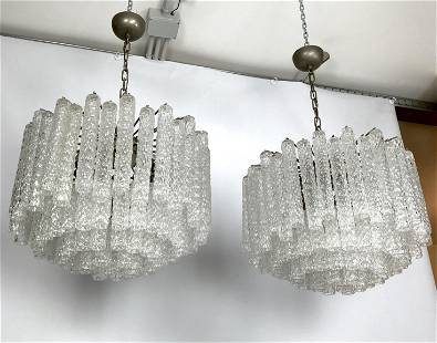 Venini, Large pair of murano clear glass chandelier by