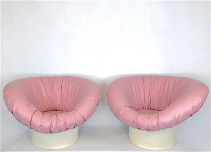 Pair of pink Korkus Armchairs by Lennart Bender for