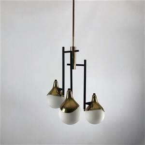 Stilnovo, rare Mid-century three arms brass chandelier