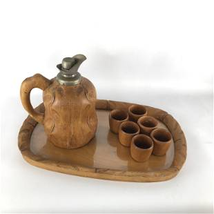 Aldo Tura carafe, tray and glasses set for Macabo. 50s