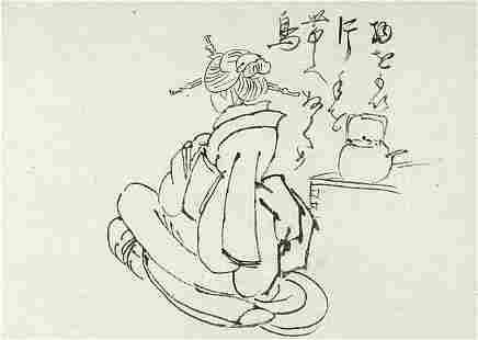 HOKUBA, Teisai: Woman and tea pot