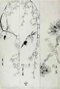 HIROSHIGE II, Utagawa: Parrot, sparrow and a small bird