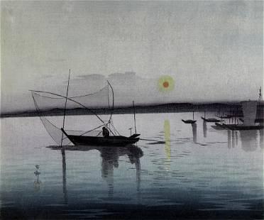 KOSON, Ohara: Fishing boats at sunset