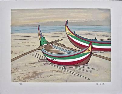 Unidentified artist: Boats on Shore
