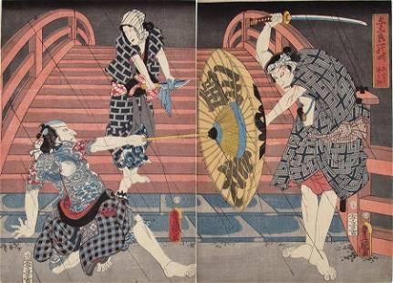 Kunisada: Battle on a Bridge