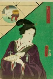 Utagawa KUNISADA: Woman holding a tray