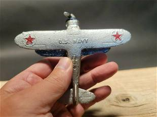 Cast Iron US Navy Airplane Toy Plane