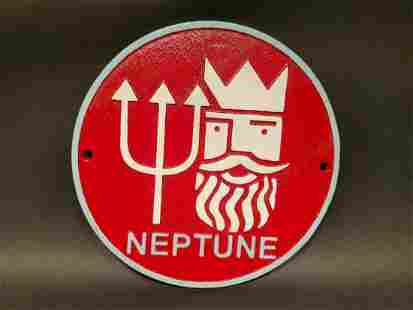 Cast Iron Round Red Neptune Gas Oil Sign Plaque