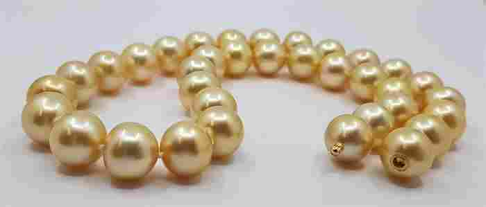 12x13mm Deep Golden South Sea Pearls - Necklace
