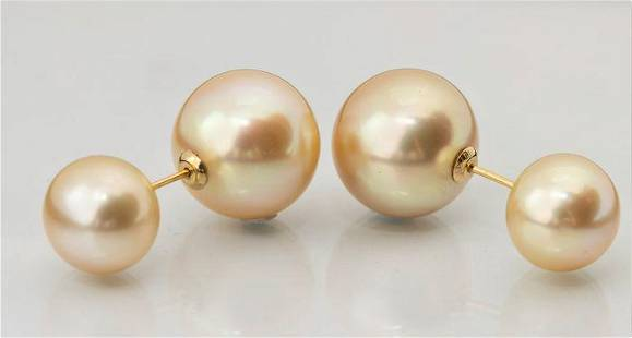 10x13mm Round Golden South Sea Pearls - 18 kt. Yellow