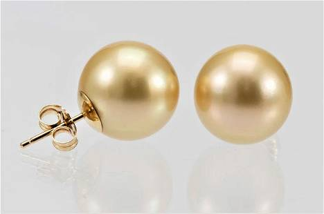 13x14mm Round Golden South Sea Pearls - 14 kt. Yellow