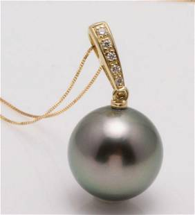 14 kt. Yellow Gold - 12x13mm Round Tahitian Pearl -