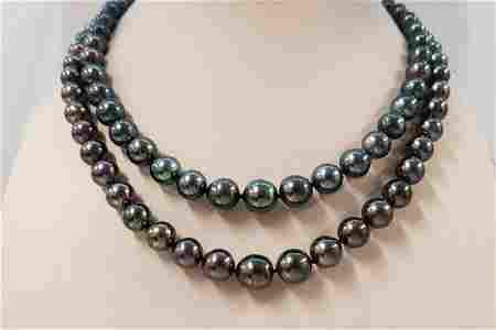 8x11mm Shimmering Peacock Aubergine Tahitian Pearls -