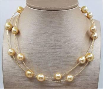 10x13mm Golden South Sea Pearls - 18 kt. Yellow gold -