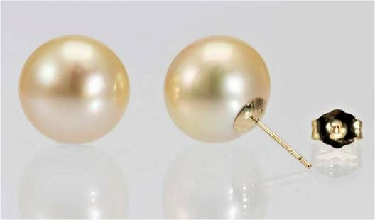 13mm Golden South Sea Pearls - 14 kt. Yellow gold -