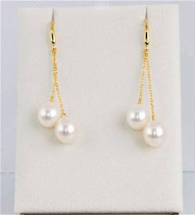 9x10mm Cultured Freshwater Pearl Drops - 925 Silver -