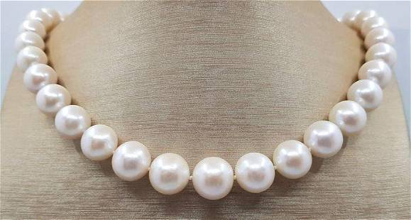 10x14mm Round White Edison Pearls - Necklace