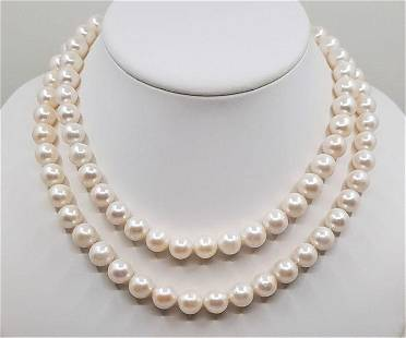 925 Silver - 10x11mm White Cultured Pearls - Long