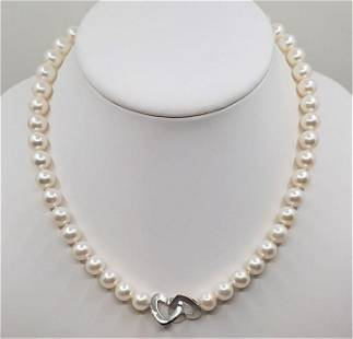 9x10mm Freshwater Pearls - 925 Silver - Necklace