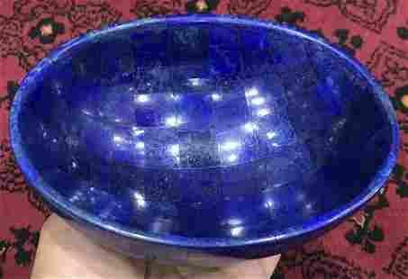 Hand Crafted Lapis Lazuli Bowl Ovel Shape Stunning