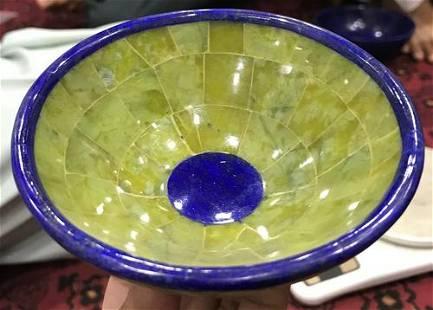 Handmade Green Color Serpentine with Lapis Lazuli