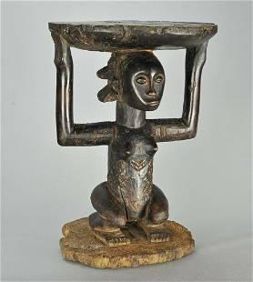 LUBA Shankadi cariatid stool seat figure statue Congo