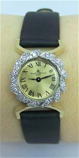 Solid 14k BAUME & MERCIER Ladies Dress Watch w/Diamonds