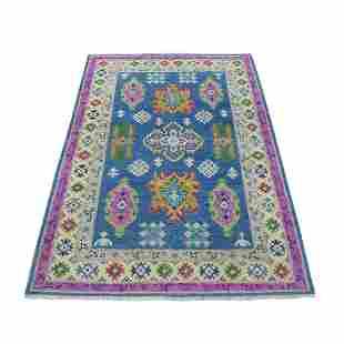 Colorful Blue Fusion Kazak Pure Wool Geometric Design