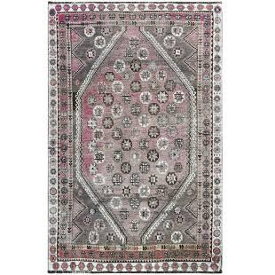 Semi Modern Faded Pink Persian Shiraz Star Design Hand