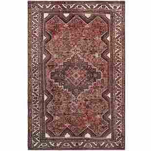Modern Red Persian Qashqai Sheared Down Clean Hand