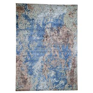 Hand-Knotted Abstract Design Wool And Silk Hi And Low