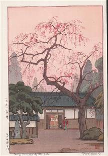 Toshi Yoshida (1911-1995)/ Cherry Blossoms By The Gate