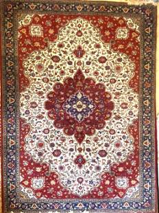 """Persian Tabriz Hand Knotted Rug, Wool, 8' 3"""" x 11' 2"""""""