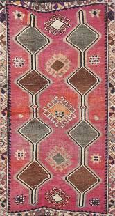 Vintage Wool Qashqai Persian Rug 3x6